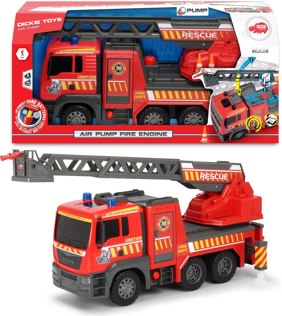 Dickie Air Pump Brandweerwagen - 54cm