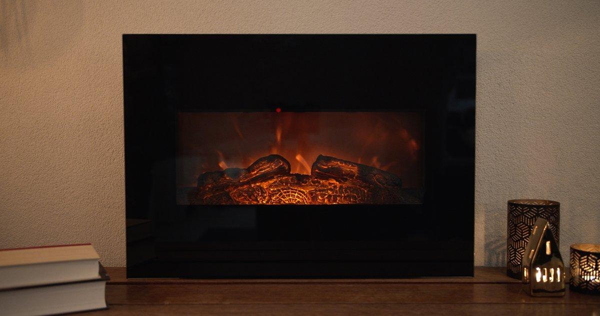 FlinQ Sfeerhaard Stockholm - Luxe Elektrische Sfeerhaard met Afstandsbediening - Diameter 80 cm - Realistisch vuur kopen
