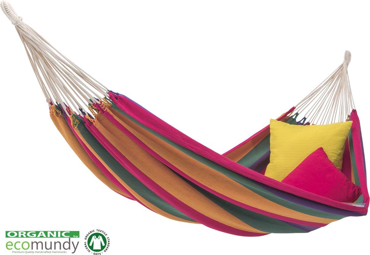 ECOMUNDY PURE BIO XL 360 - Luxe 2-persoons hangmat van biologisch katoen - handgeweven - GOTS - 160x240x360cm