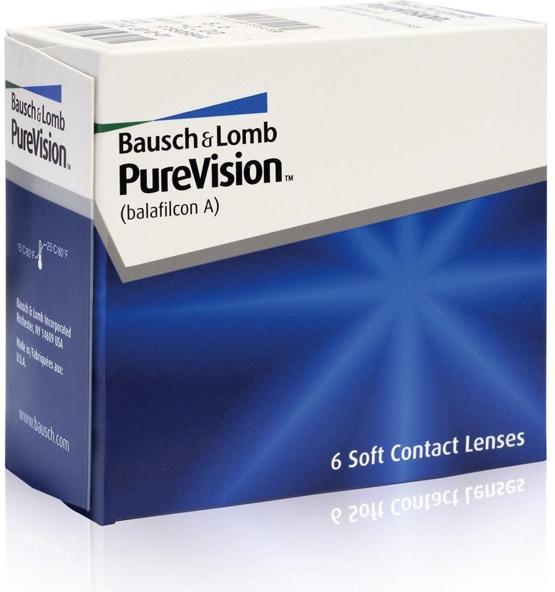 Foto van -0,00 PureVision - 6 pack - Maandlenzen - Contactlenzen - BC 8,60