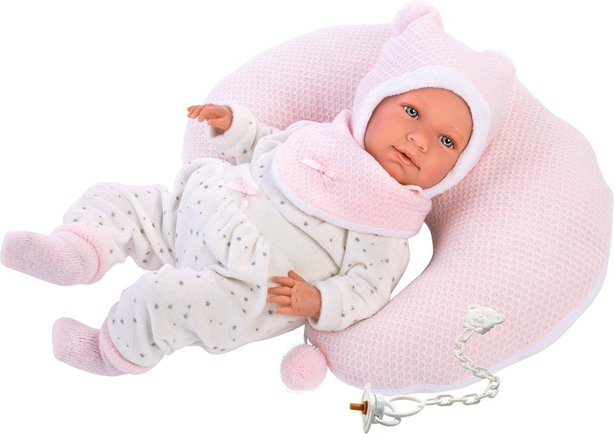 Llorens softbody babypop 42 cm met geluid roze kussen en speen
