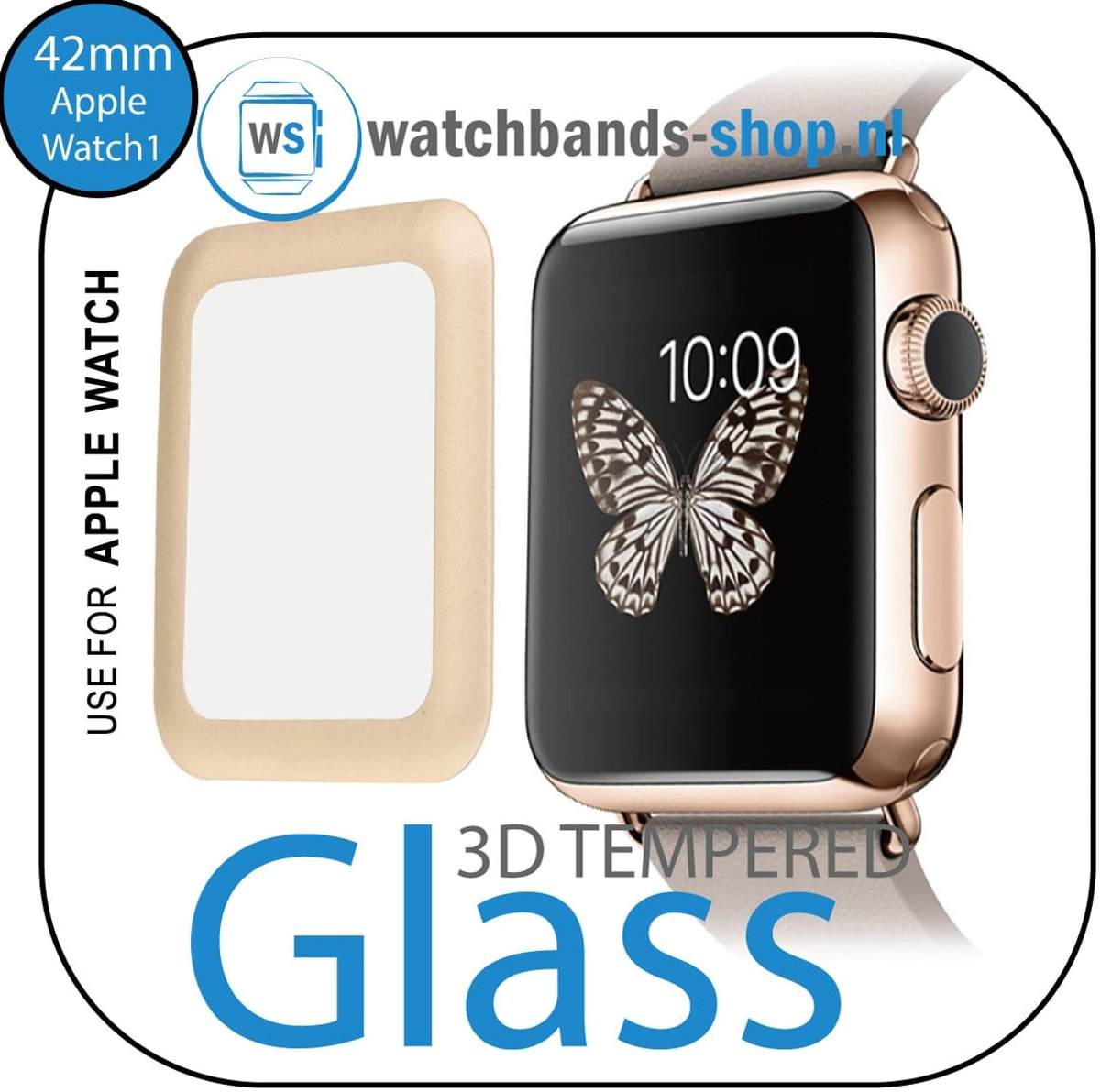 42mm full Cover 3D Tempered Glass Screen Protector For Apple watch / iWatch 1 golden edge   Watchbands-shop.nl kopen