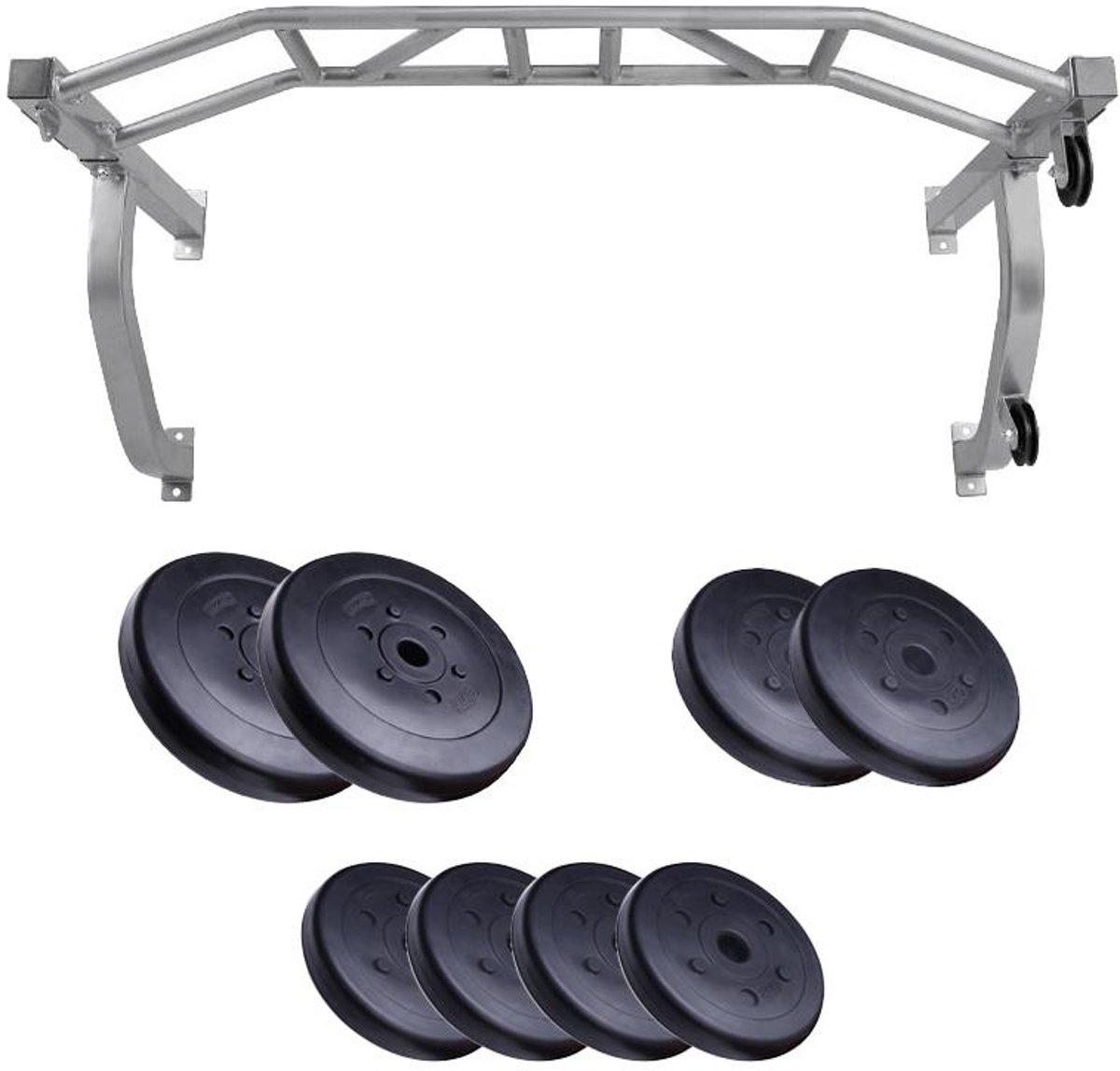ScSPORTS® Multifunctionele Optrekstang - Chinning bar - Chin-up bar met 40 kg Halterschijven Set kopen