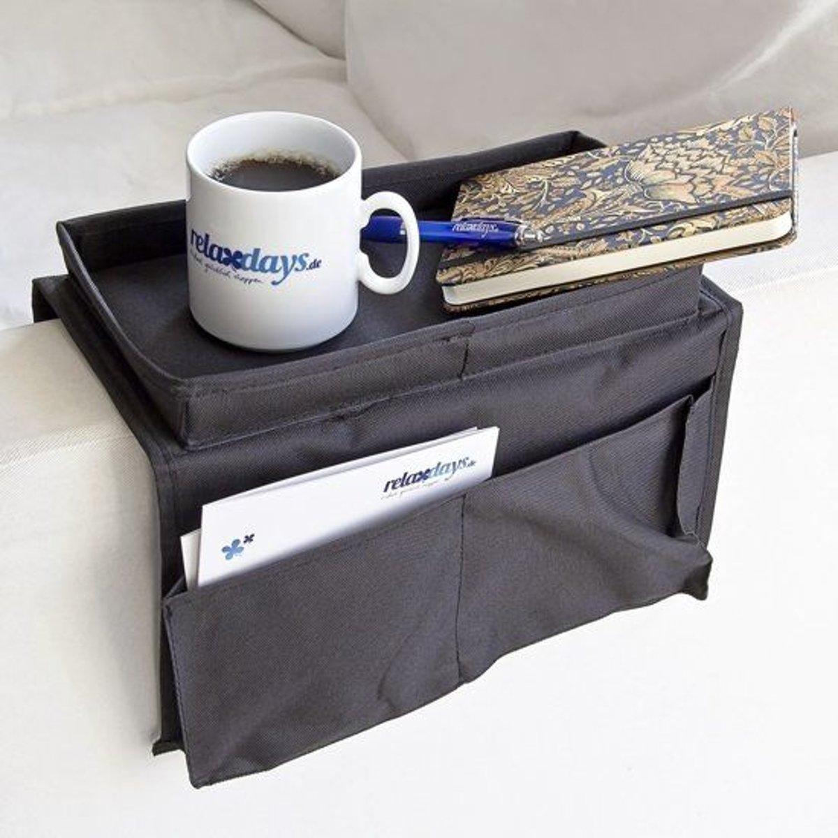 relaxdays armleuning organizer, armleuning dienblad met opberger, sofa 6 zakjes