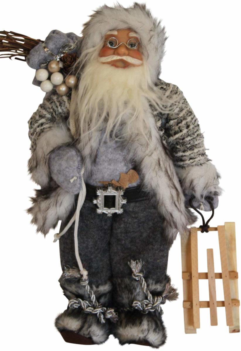 Staande kerstman met zak en slee en stoffen kleding - 30 cm kopen
