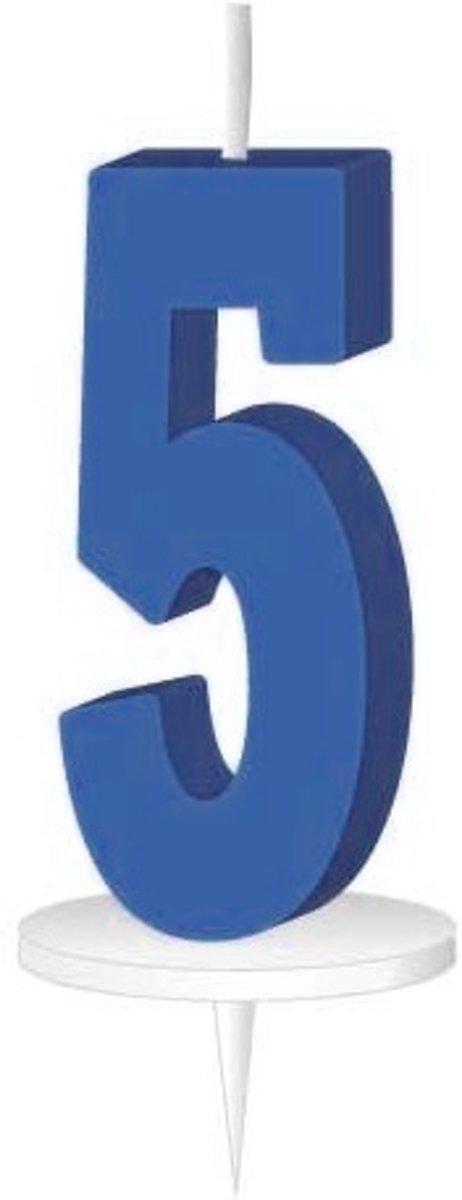 Afbeelding van product Haza Original Cijferkaars Met Houder ''5'' 8 Cm Blauw