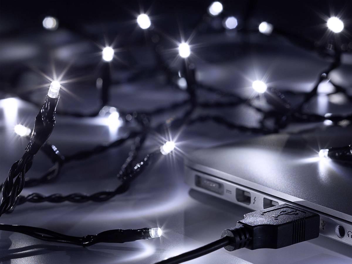 Polarlite LLC-06-003 Micro-lichtketting Binnen werkt op USB 80 LED Koud-wit Verlichte lengte: 7.9 m kopen