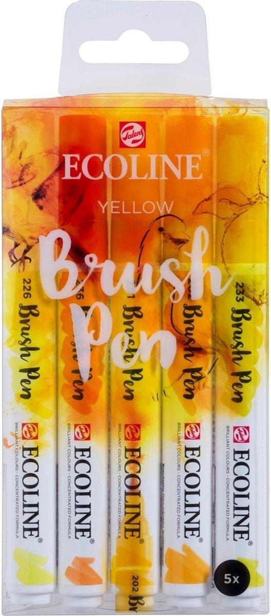 Talens Ecoline 5 brush pens Yellow