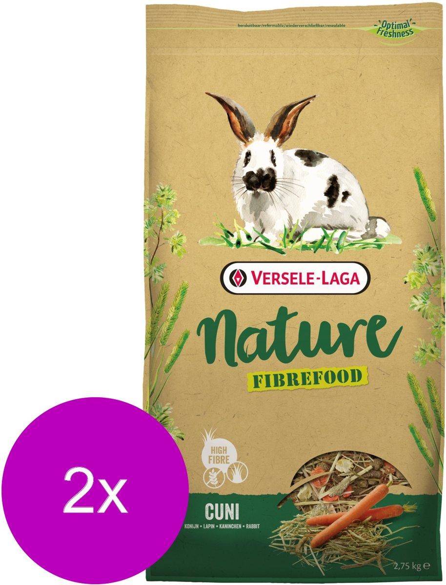 Versele-Laga Nature Cuni Fibrefood - Konijnenvoer - 2 x 2.75 kg