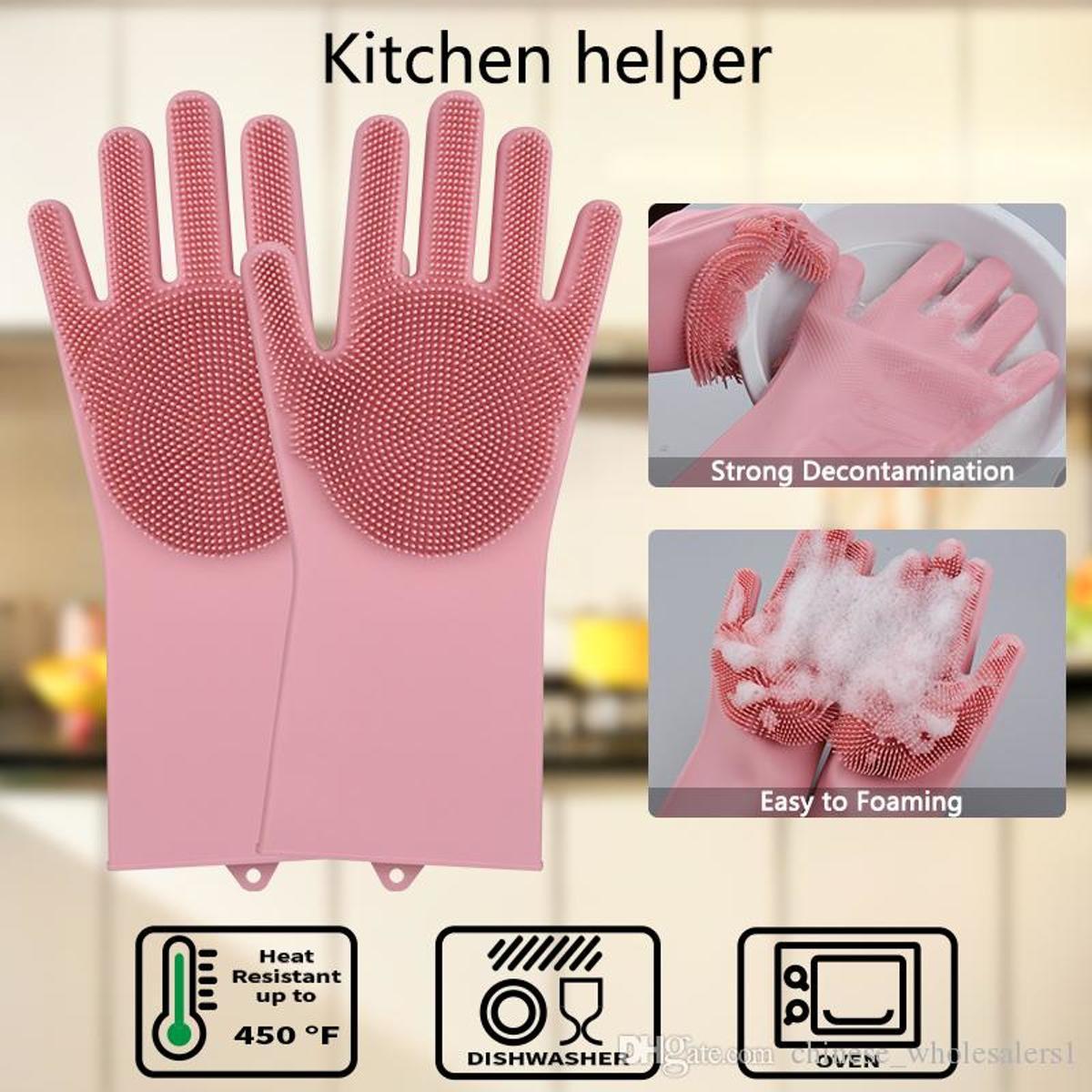 2in1 Magic Siliconen Rubberen Schoonmaak Handschoenen Met Spons - Afstoffen , Afwas , Auto Keuken schoonmaakhandschoenen met ingebouwde Borstel- Roze kopen