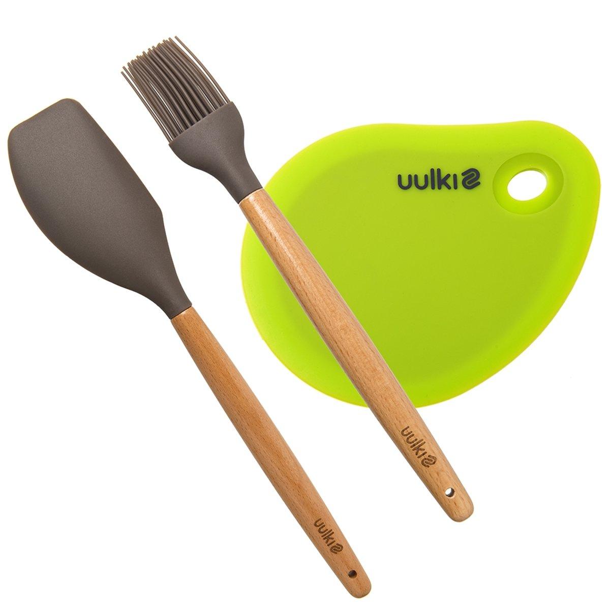 Happy Pastry Chef 3-delige Bakset: Pannenlikker / pottenlikker, Bakborstel / grillborstel, Deegkrabber / Deegschraper / Deegsnijder – hout en siliconen - van Uulki kopen
