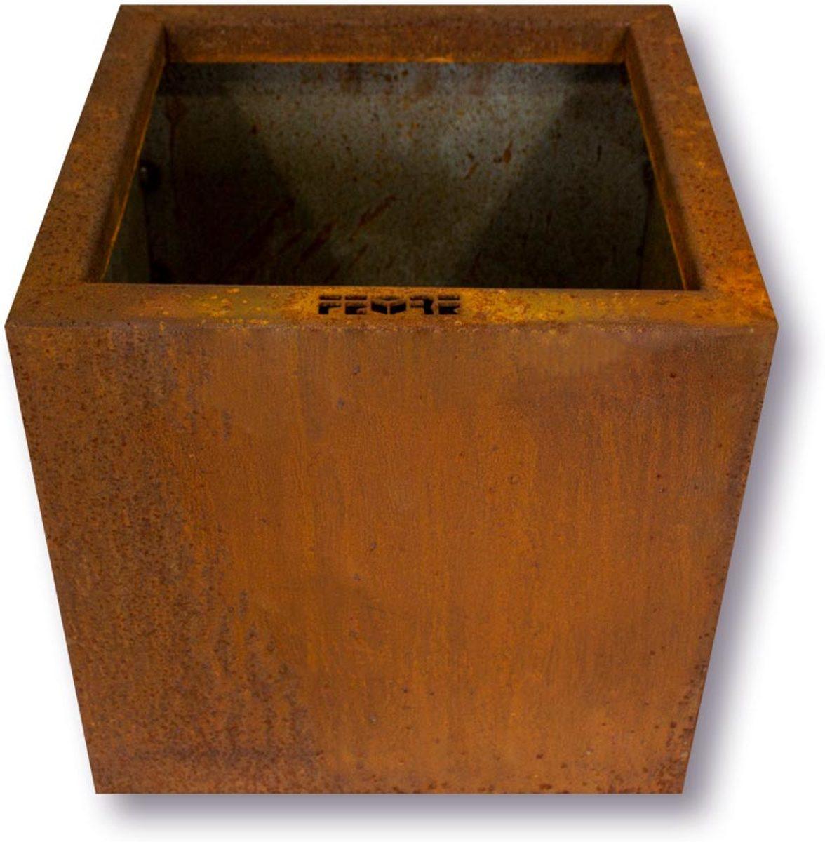 FeOre Cubo 30x30x30 - cortenstaal (metaal) bloembak / plantenbak / bloempot