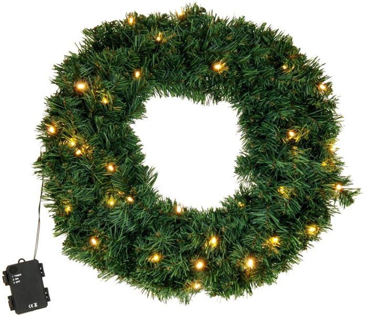 Kerstkrans met LED verlichting 50 cm kopen