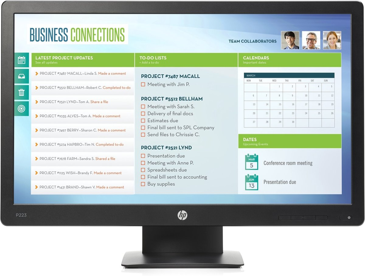 HP ProDisplay P223 21.5'' Full HD LED Zwart computer monitor