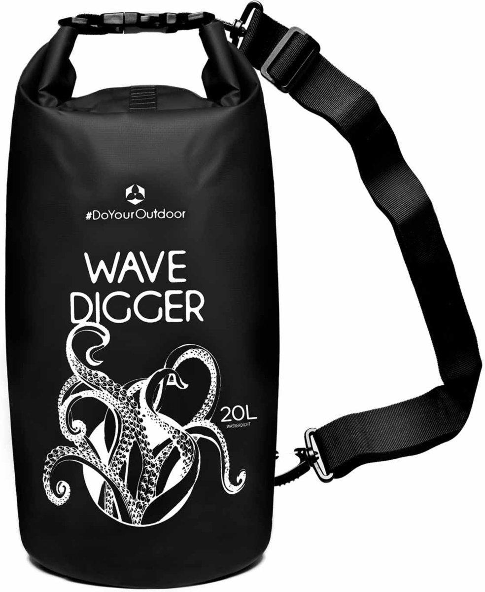 Dry Bag »Krake« waterdichte tas voor het droog houden van je spullen bij: kajak, kano, zeilen, vissen, zwemmen, strand, snowboarden, skiën of camping, beschermt tegen: stof, nattigheid, zand, vuil. Verkrijgbaar in 5,10,20,30 en 40 liter / 20L zwart kopen