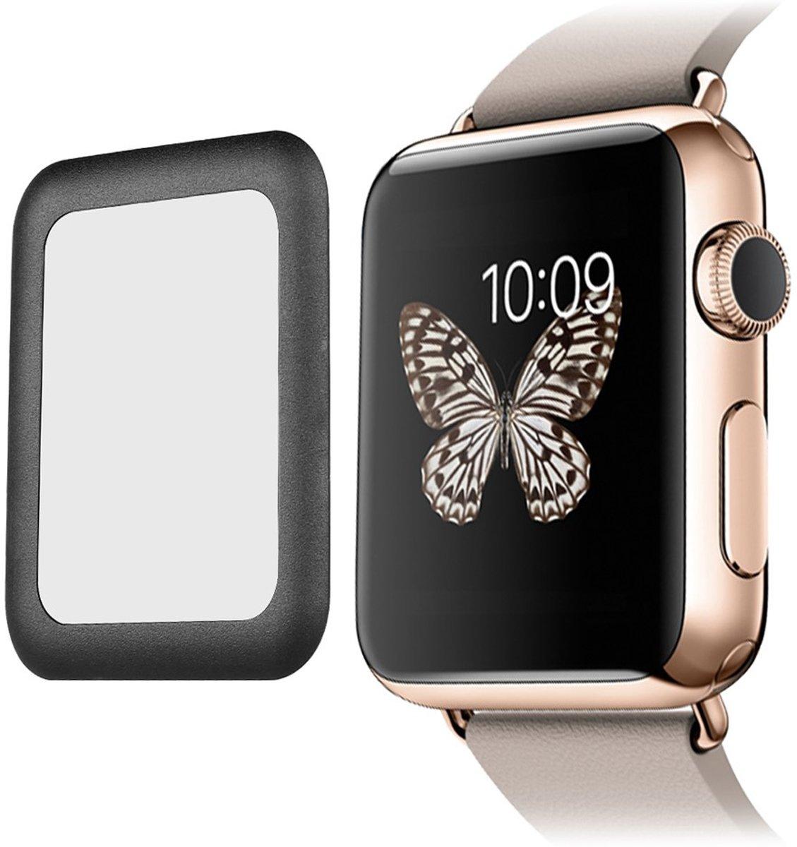 Tempered Glass Screenprotector 0.2mm  voor Apple Watch Series 1 / Series 2 / Series 3 (42mm)  Full Coverage - Zwart kopen