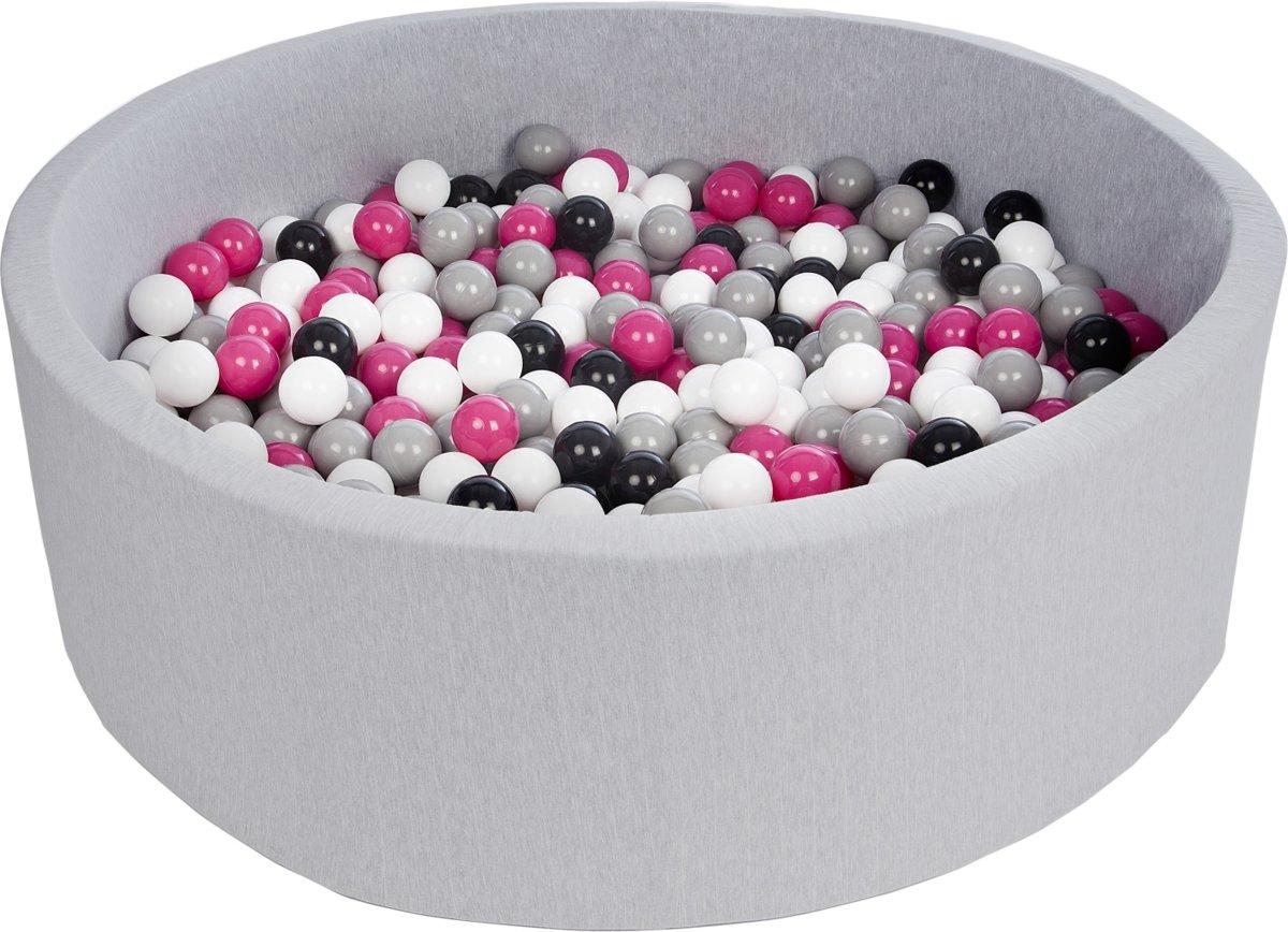 Zachte Jersey baby kinderen Ballenbak met 600 ballen, diameter 125 cm - zwart, wit, roze, grijs