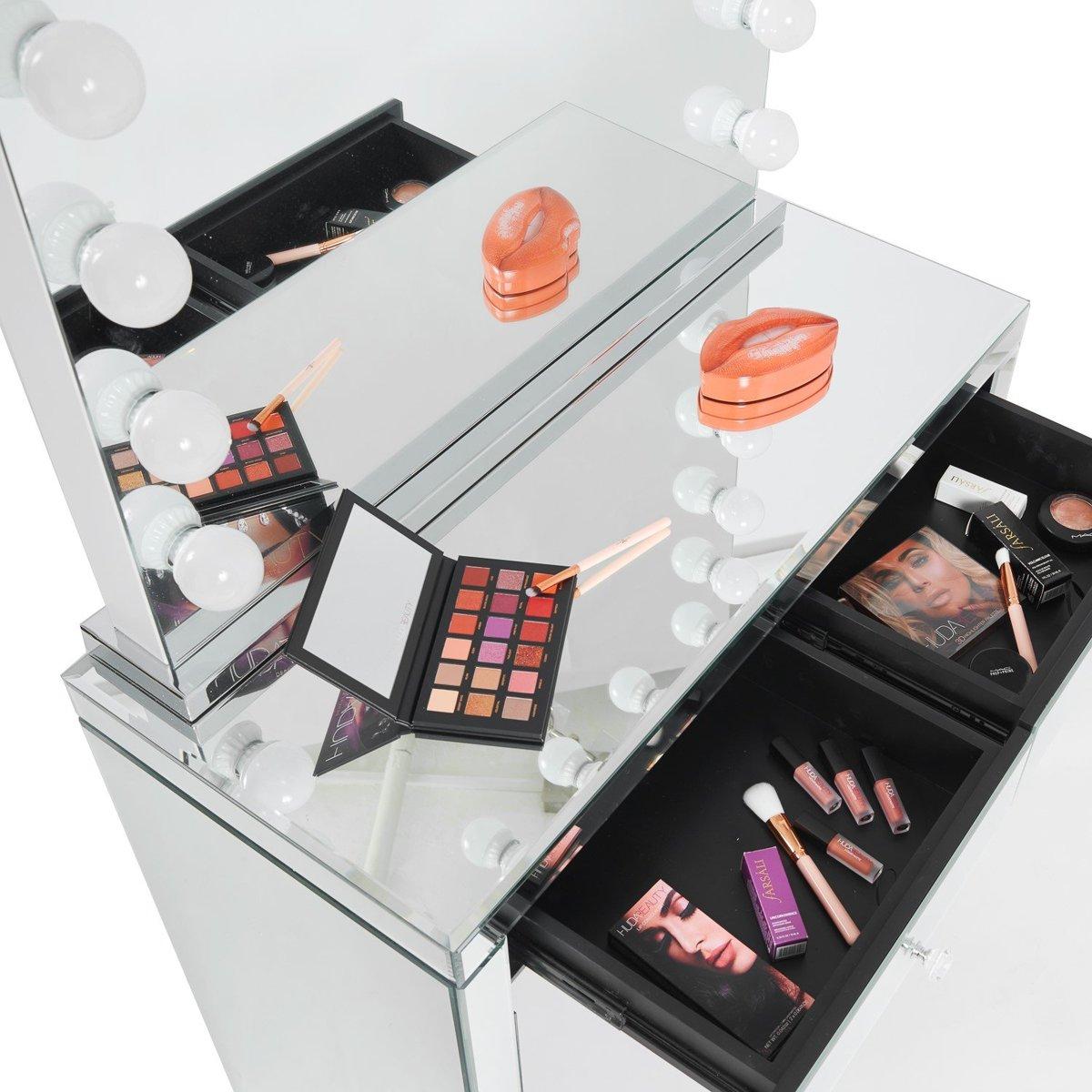 Bol.com glazen make up tafel met led licht by luxury palace