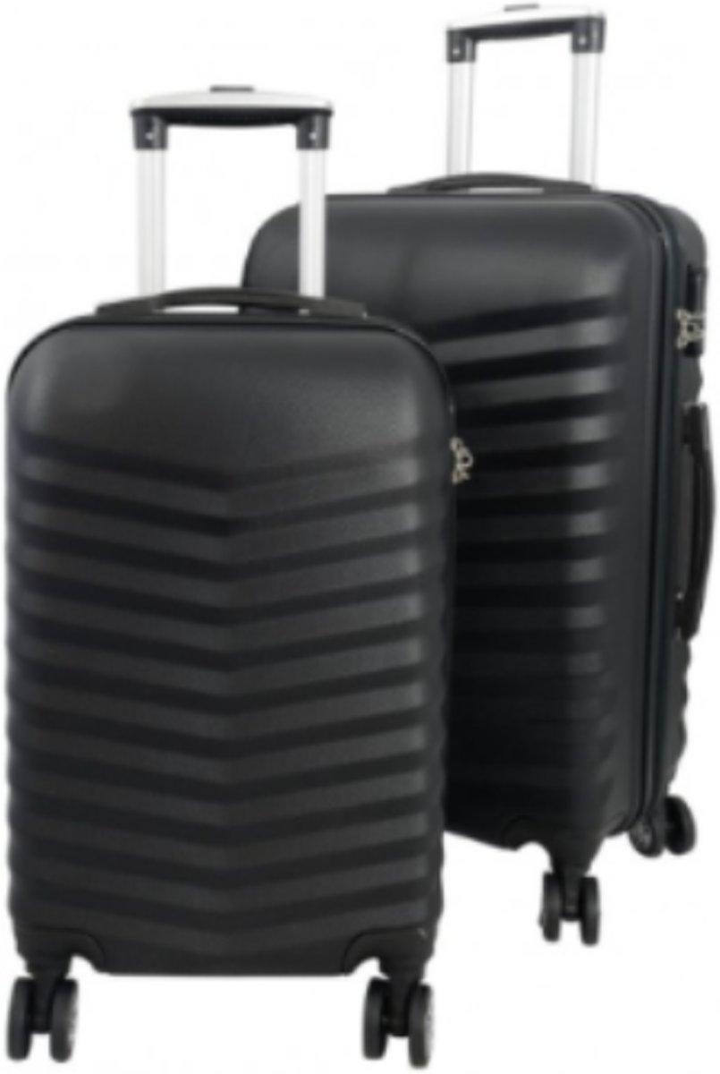 2 delig reiskoffer set Travelsuitcase zwart met 3D structuur kopen
