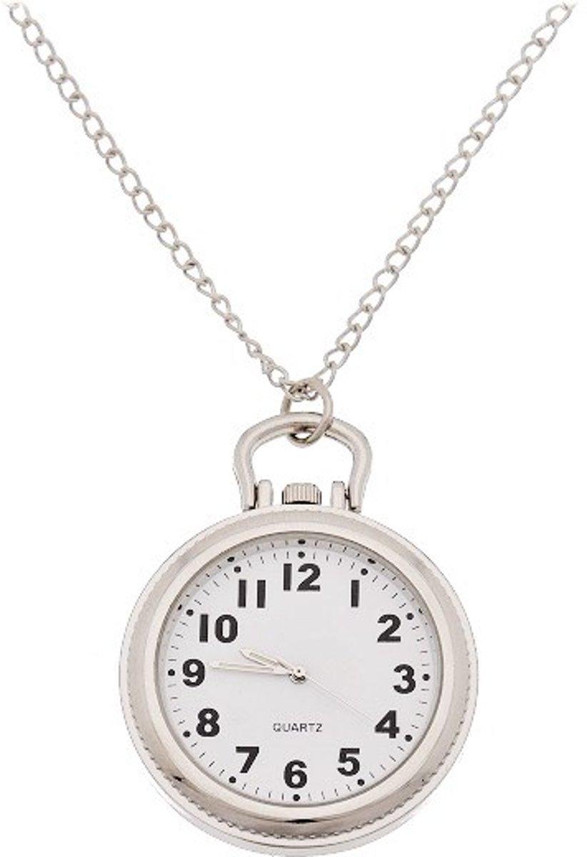 Treasure Trove® Lange Ketting Horloge Staal Vrouwen - Dames horloge - Zilverkleurig - 80 cm kopen