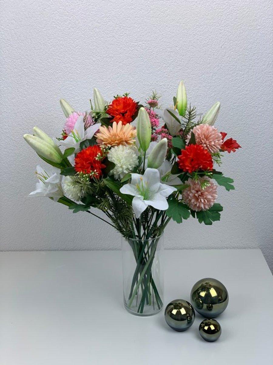 Zijde lelie kunstbloemen boeket – 57 cm hoog – plukboeket en veldboeket kopen