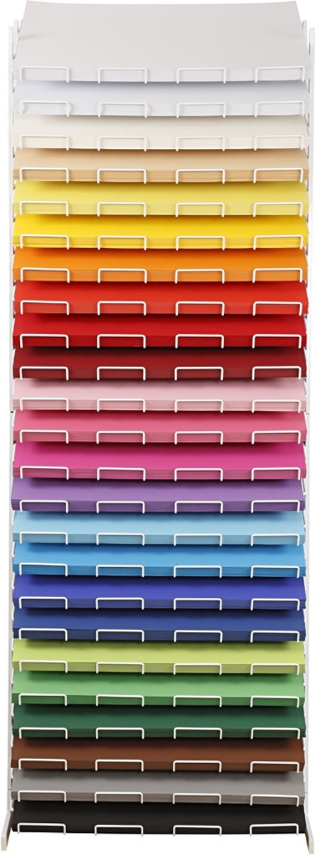 Afbeelding van product Gekleurd karton, A2 420x594 mm, h: 1700 mm, kleuren assorti, incl. display - 24 planken, 24x100vellen