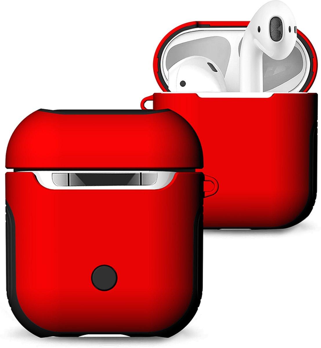 Hybride Silicone Case Cover Hoesje voor Apple Airpods - KELERINO. - Rood kopen