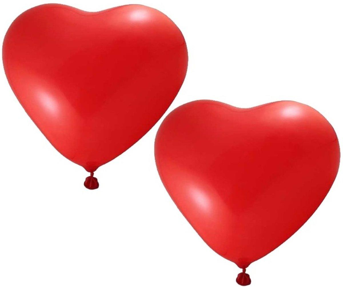 Afbeelding van product 48x Hartjes ballonnen rood 27 cm - Valentjin/Huwelijk versiering
