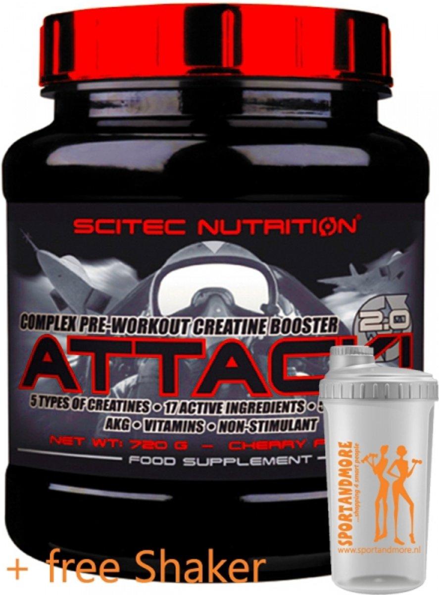 Scitec Nutrition - Attack 2.0 - Complex pre-workout creatine booster - 720 g - 72 porties - poeder - Cherry + sportandmore shaker kopen