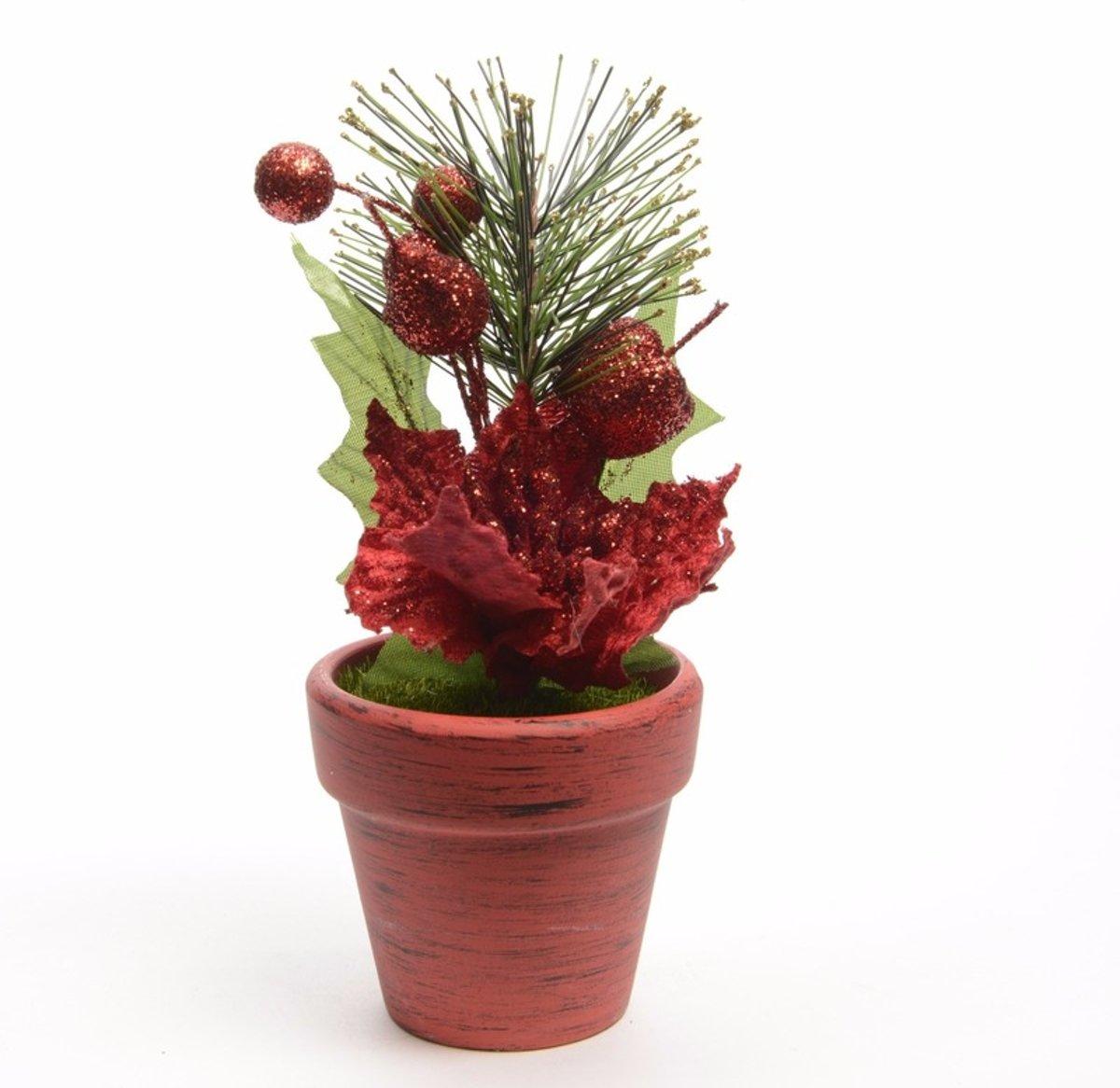 Kerstster kunstbloemen in bloempot rood kopen