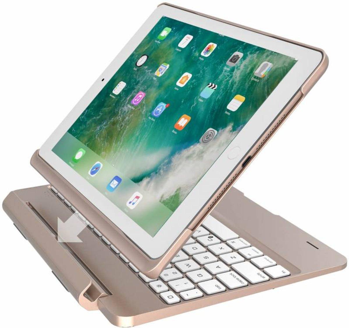 iPadspullekes.nl iPad 2017 toetsenbord met afneembare case goud kopen