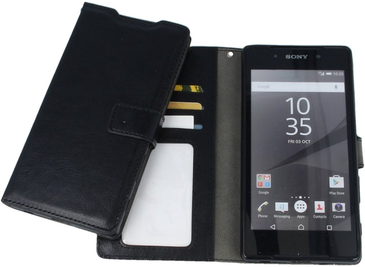 Sony Xperia E5 Portemonnee Hoesje – Litchi Wit