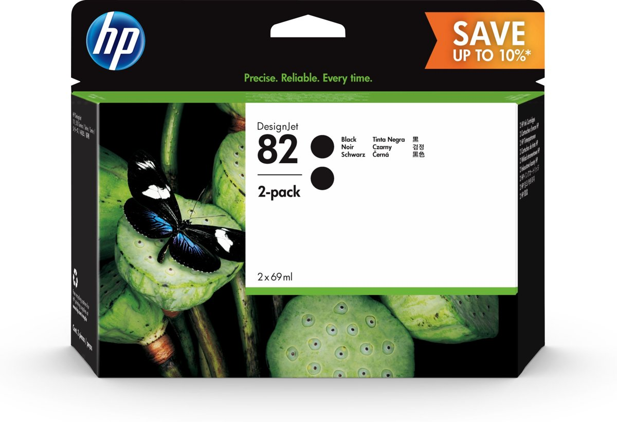 HP 82 69ml Inkt Cartridge Zwart 2-Pack