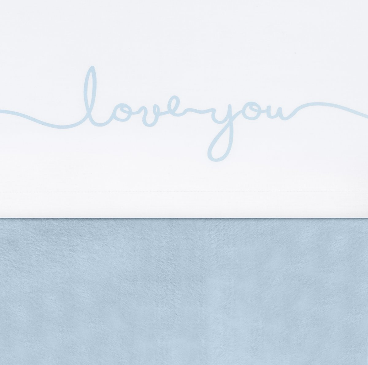 Jollein Love you Laken 75x100cm wit met soft blue tekst