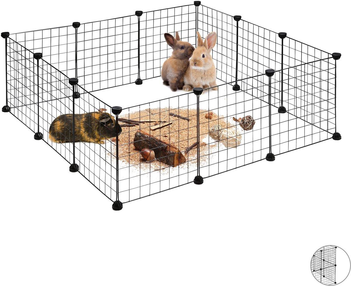 relaxdays konijnenren - uitloop kleine dieren - DIY buitenren - uitbreidbare ren knaagdier Pak van 12 kopen