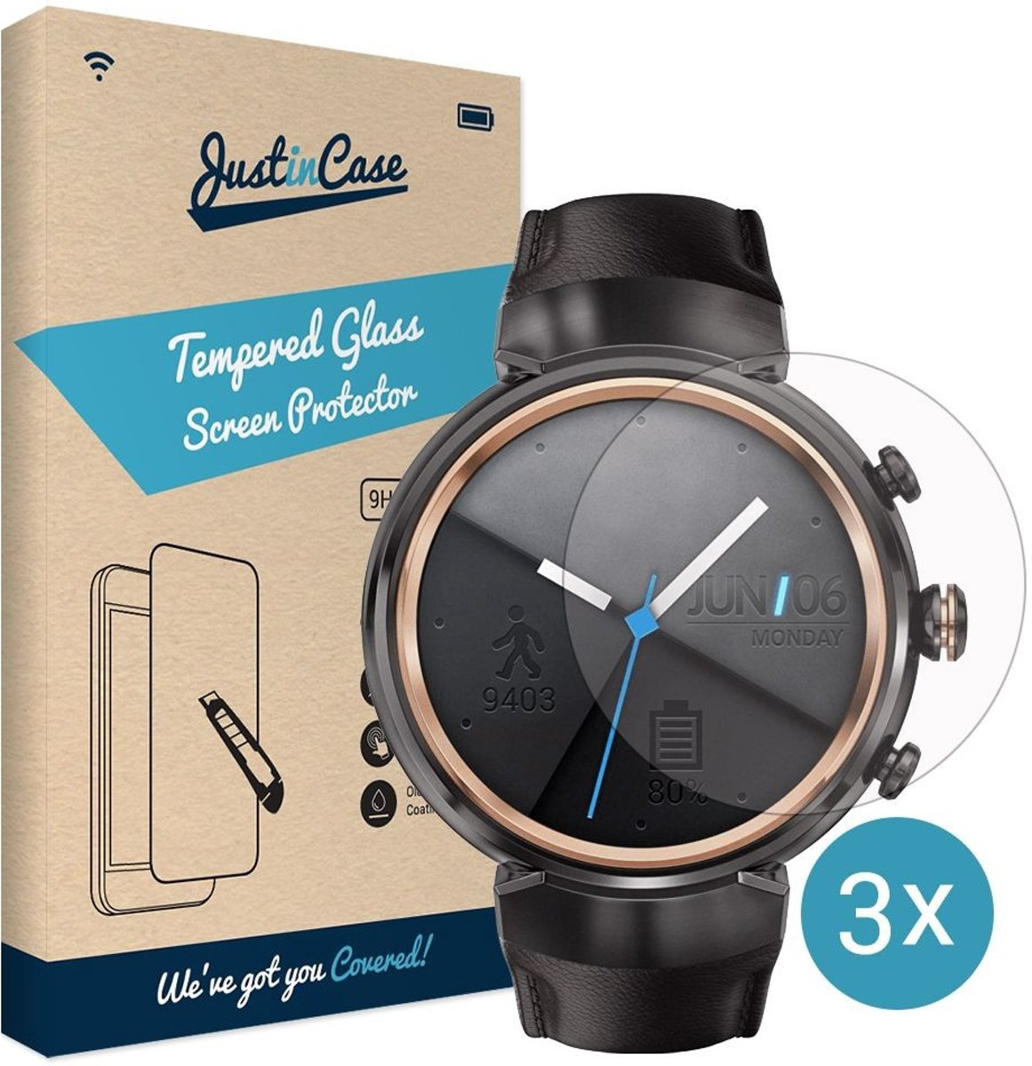 Just in Case Soft TPU Screen Protector (0.3mm) Asus ZenWatch 3 - 3 pack kopen