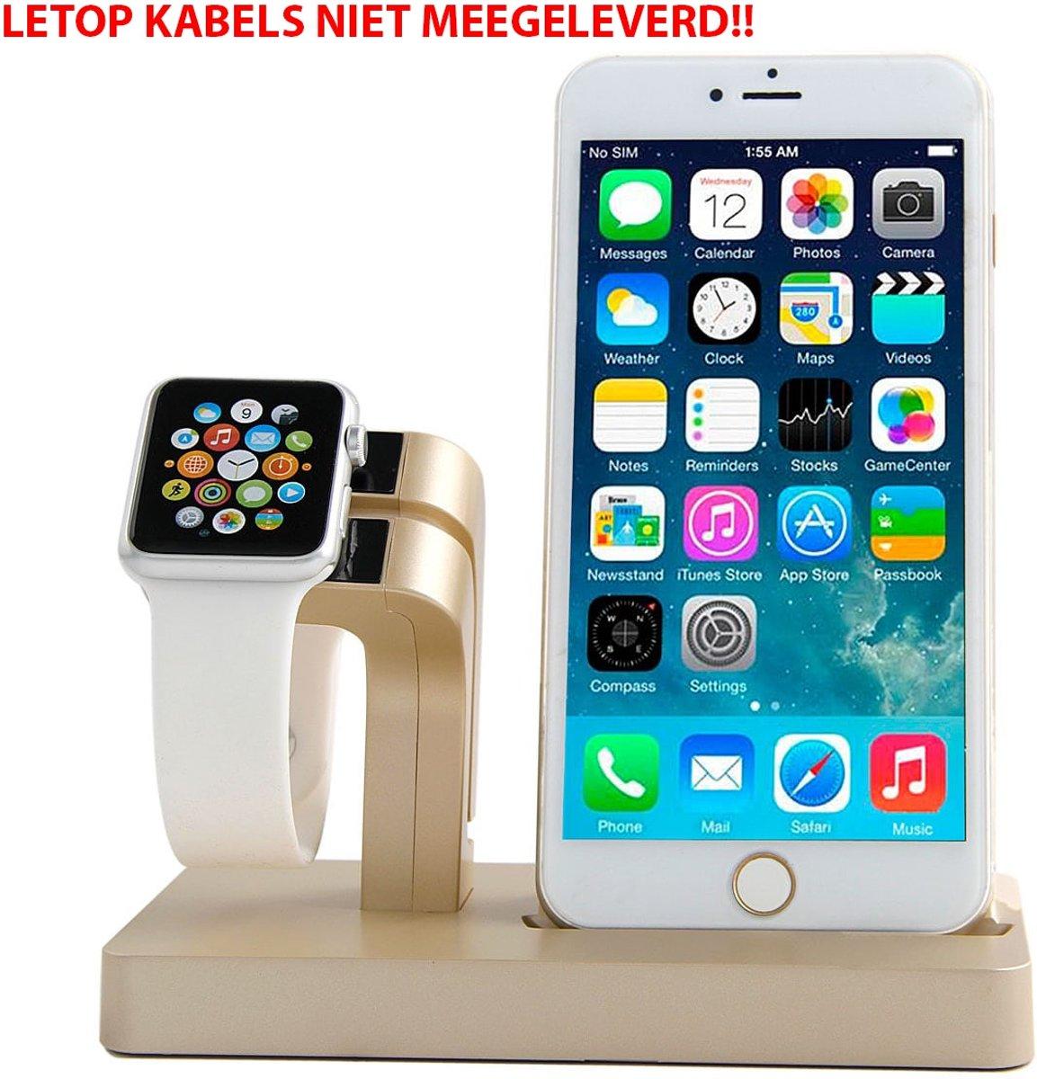 2 in 1 Apple Watch Standaard / Iphone houder voor Apple Watch/ iPhone 6 / 6 Plus /6s / 6s Plus /7 / 8 / 8 plus / Iphone X Goud Watchbands-shop.nl kopen