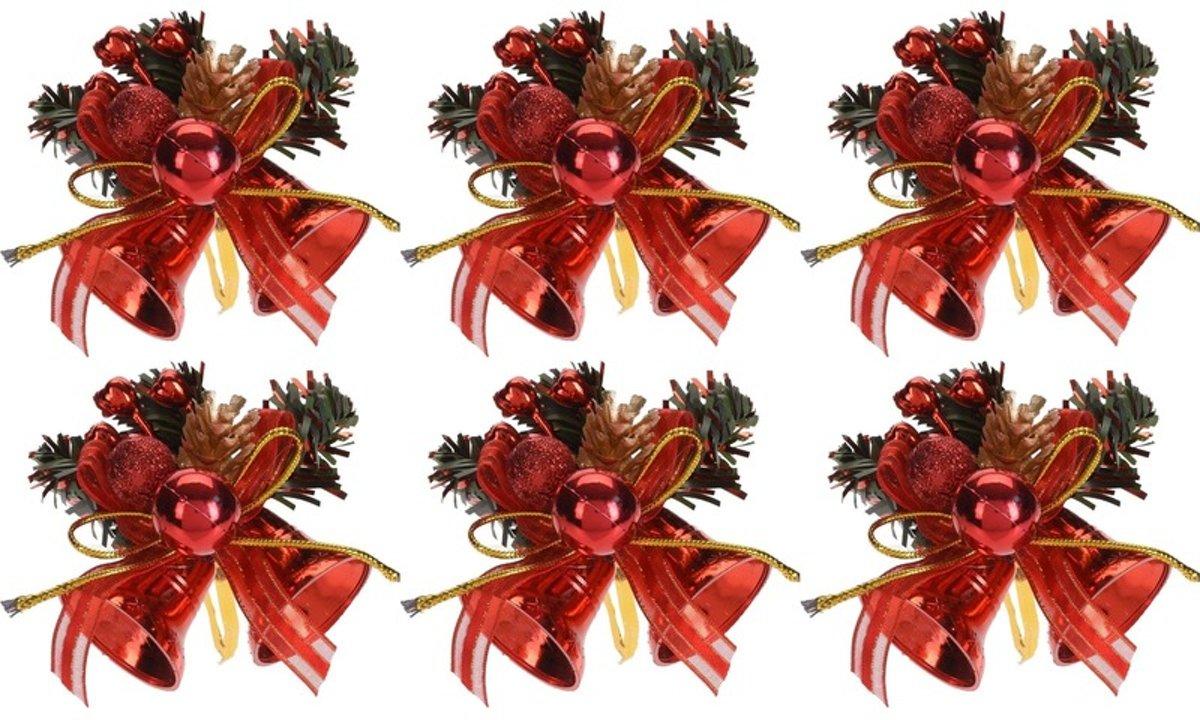 6x Rode kerstklokjes/kerststukjes decoraties 7 cm kopen