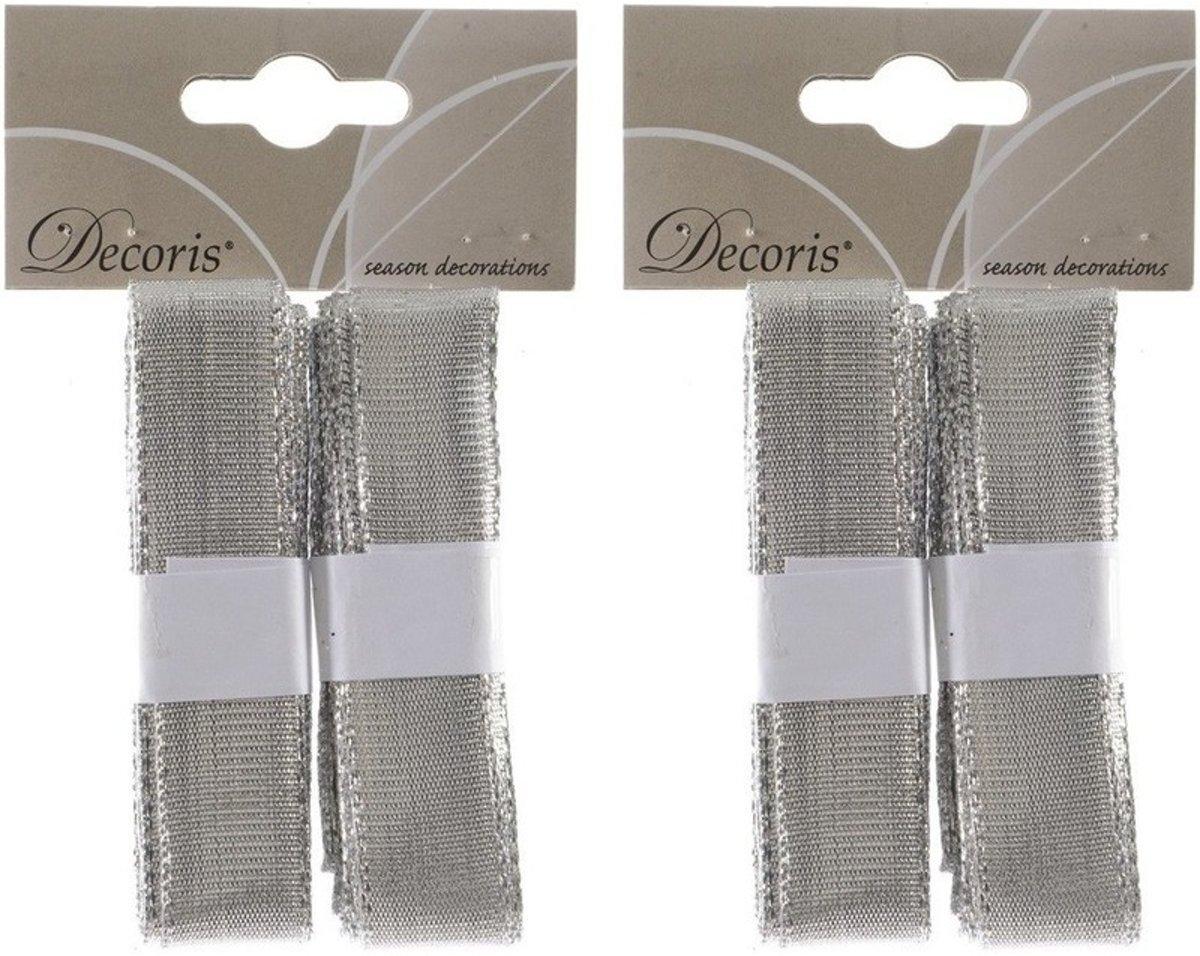 Kerst linten zilver 4x 200 cm - Zilveren kerstlinten kerstversieringen kopen