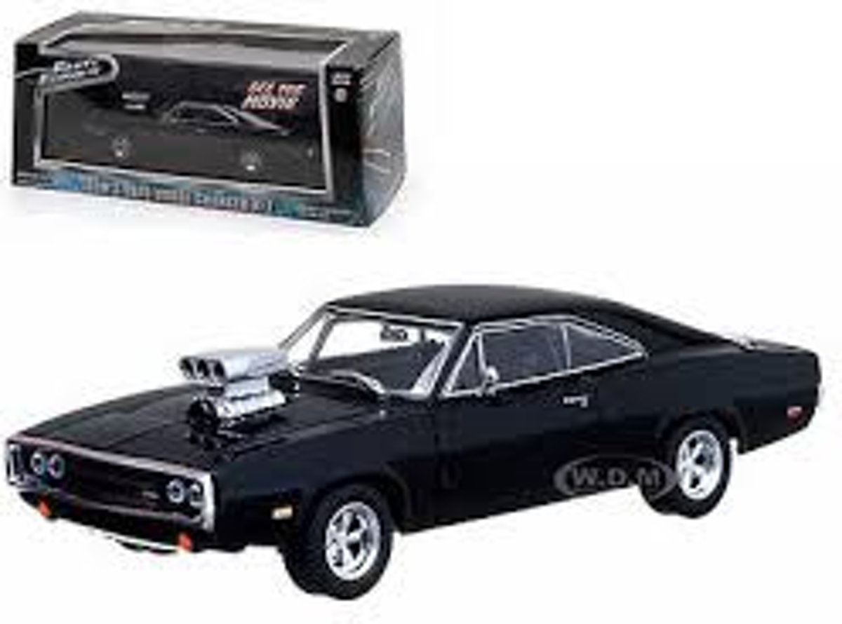 Dom's Dodge Charger R/T 1970 Zwart Fast and the Furious 1-43 Greenlight