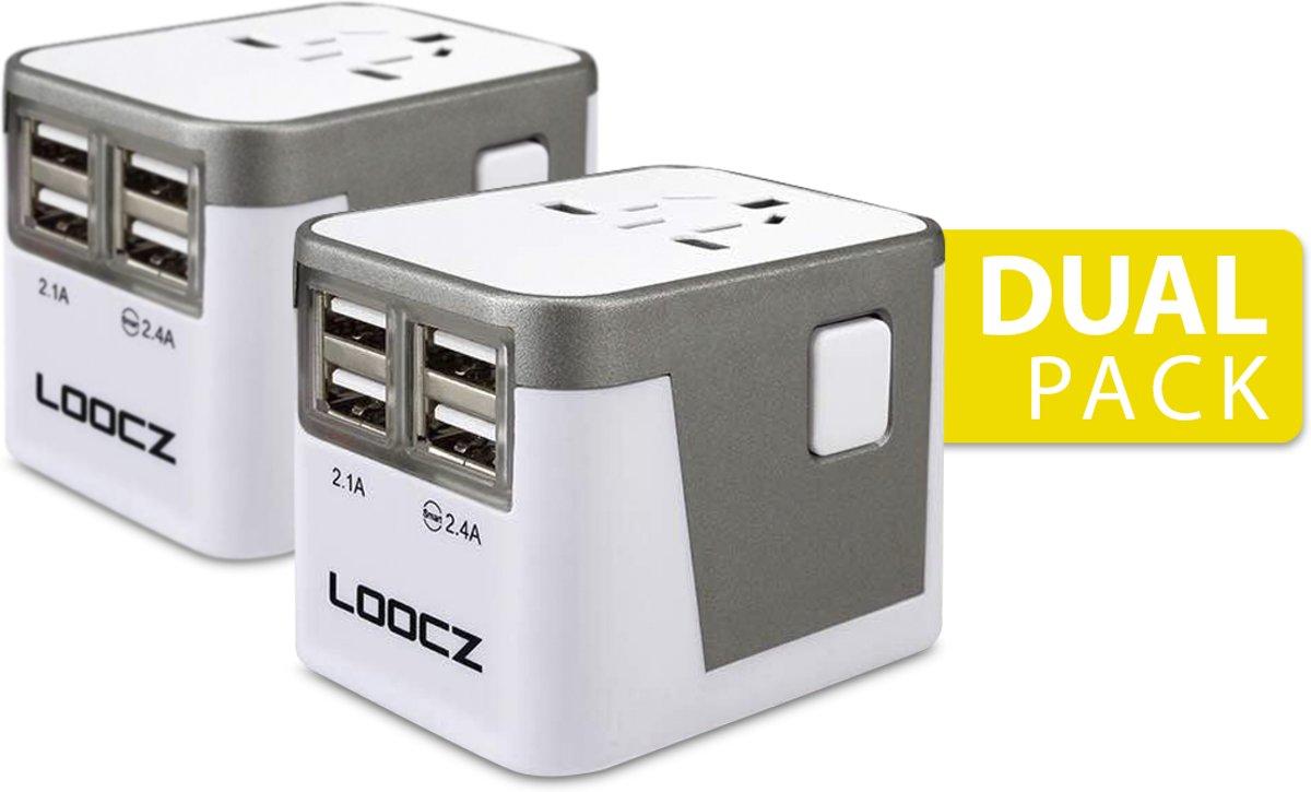 Loocz universele wereldstekker reisdapter reisstekker omvormer met 4 USB voor alle landen 2 PACK