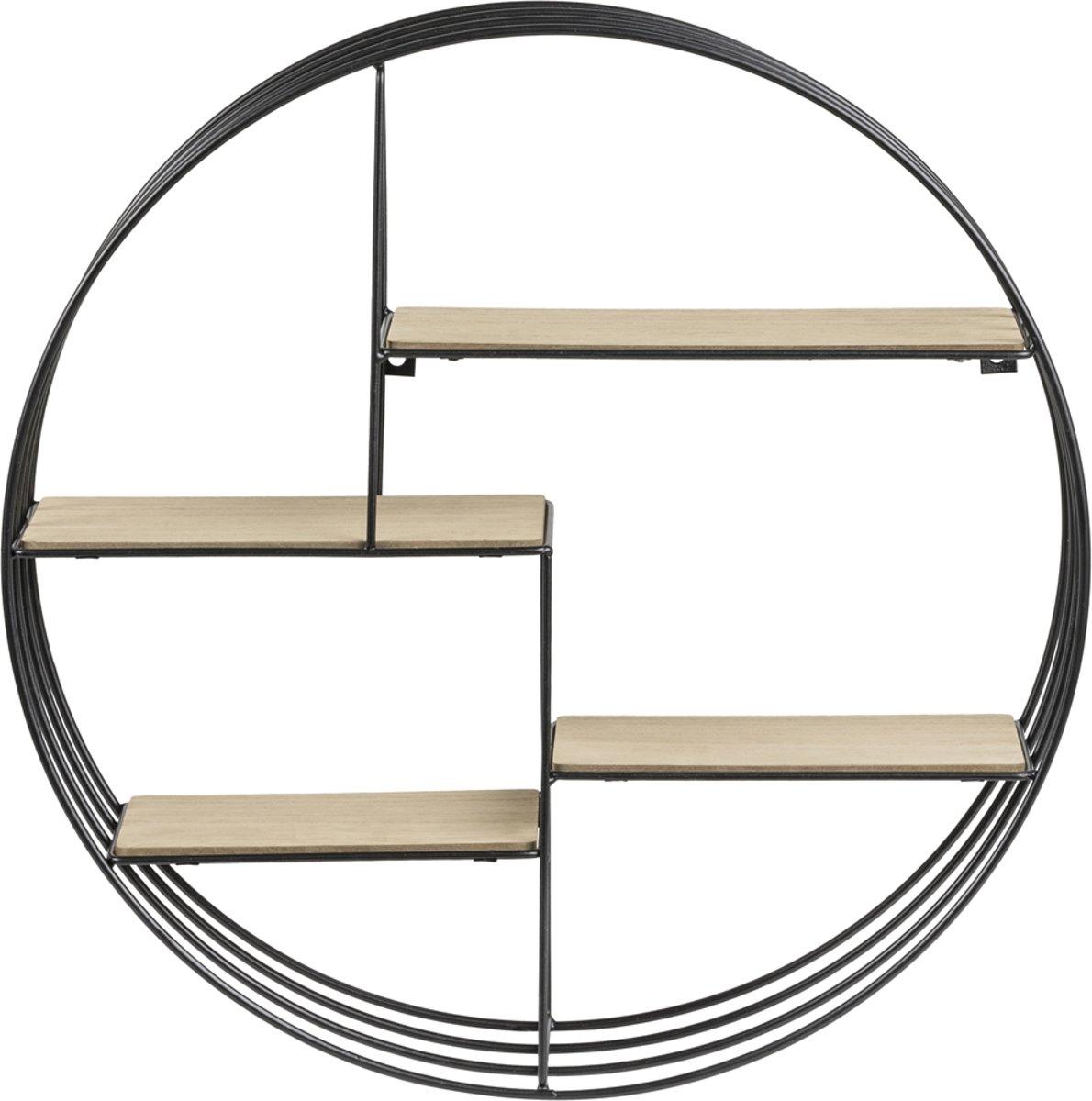 Wandrek DOL rond 45cm metaal zwart met houten planken kopen