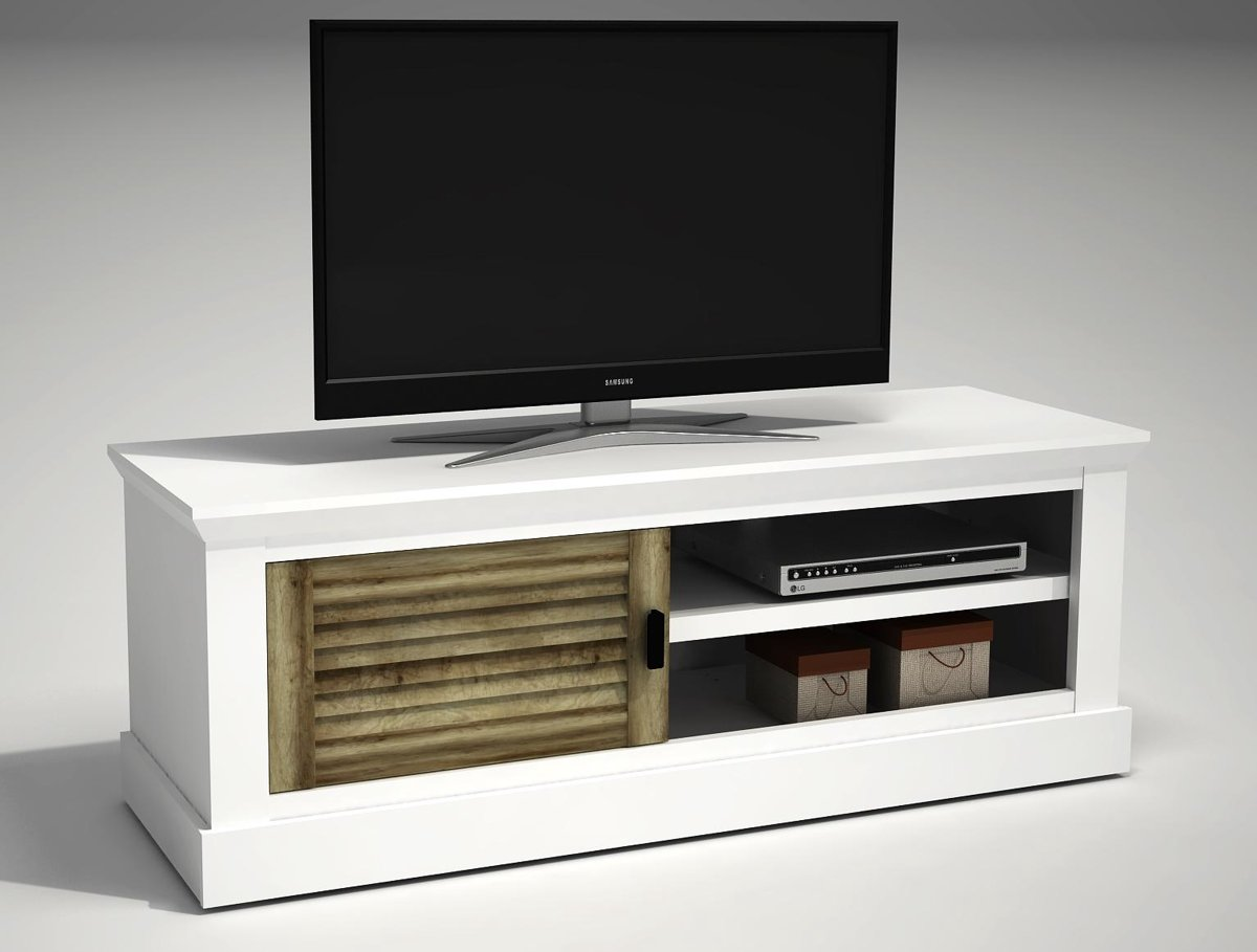 Landelijk Tv Meubel Louvre.Wit Gepatineerde Tv Kast Met Louvre Deur In Grey Wash Oregon