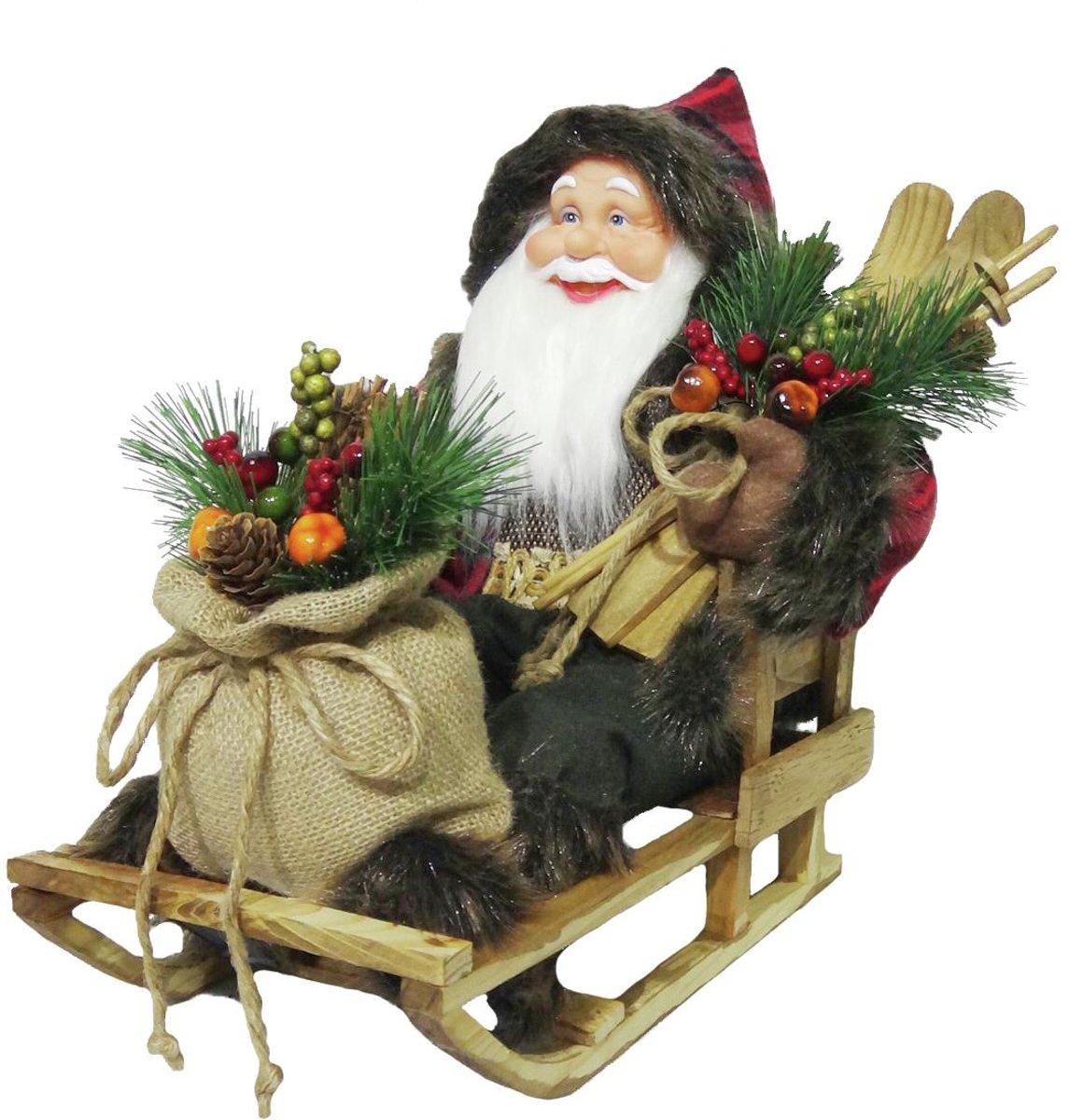 Europalms Kerstversiering voor binnen - Kerstman op slee -Kerstdecoratie - 45cm kopen