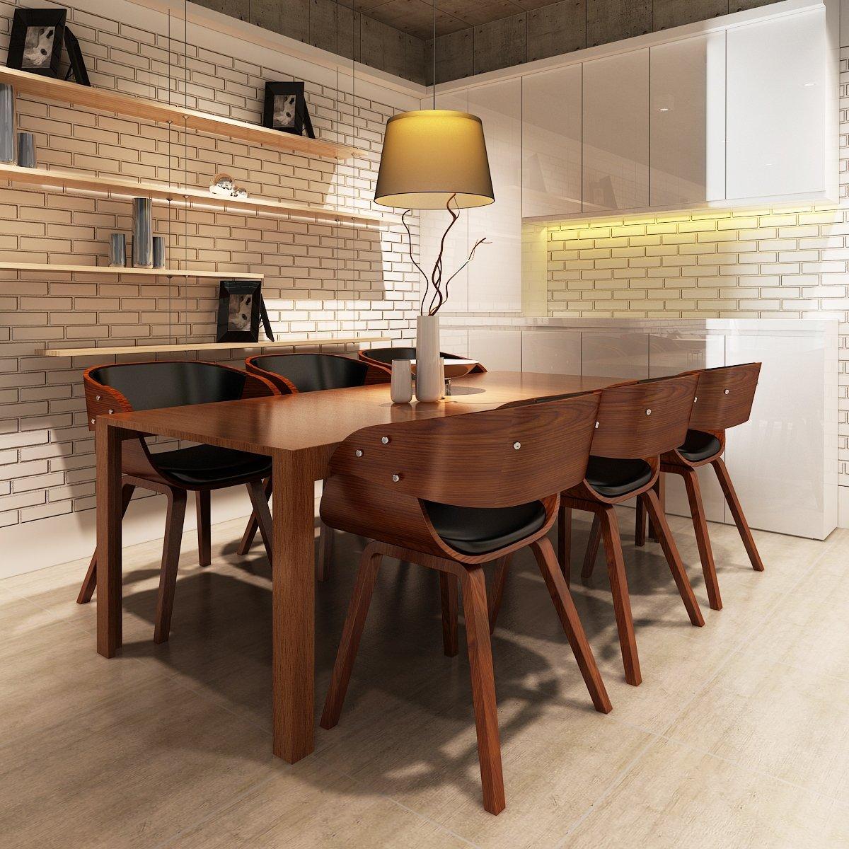 vidaXL Eetkamerstoelen Shanghai hout bruin 6 st