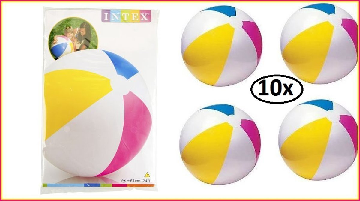 10x Strandbal opblaasbaar 61 cm Intex