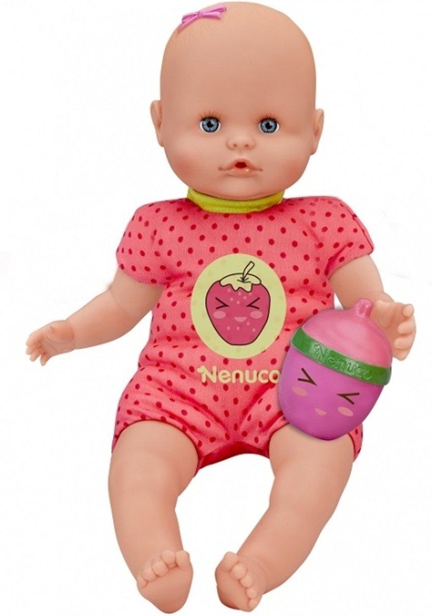 Nenuco pop met fles-rammelaar - rood - aardbei