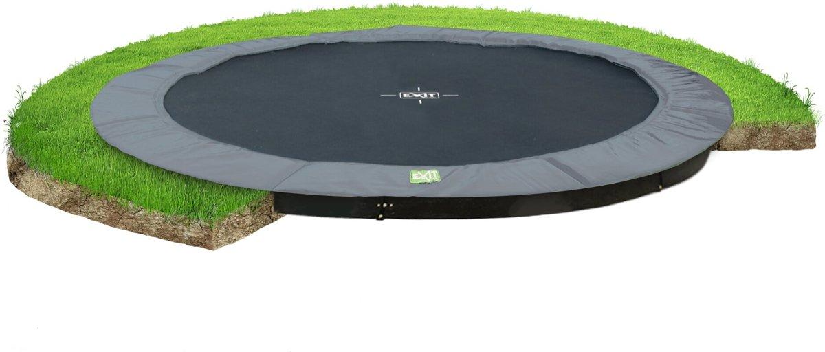 EXIT InTerra groundlevel trampoline ø427cm - grijs