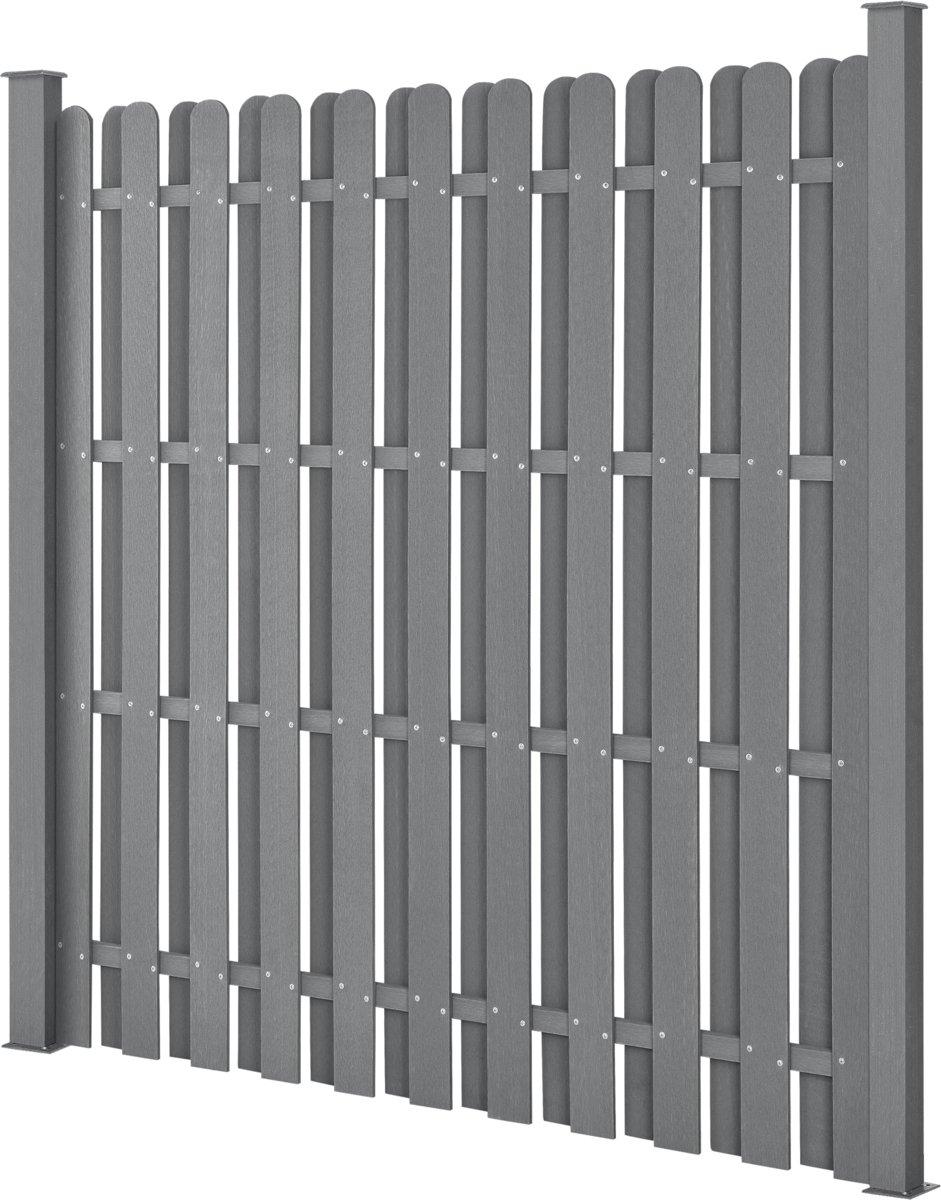 WPC Tuinscherm schutting met palen - grijs kopen