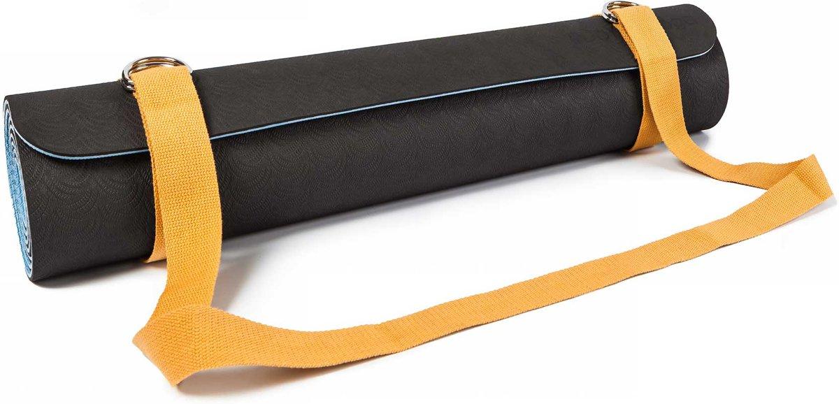 #DoYourYoga - strap voor yogamat  - »Yuki« -  verstelbare transportriem voor alle standaard yoga-, pilates- en extra dikke fitnessmatten - 196 x 3,7 cm - pastelgeel kopen